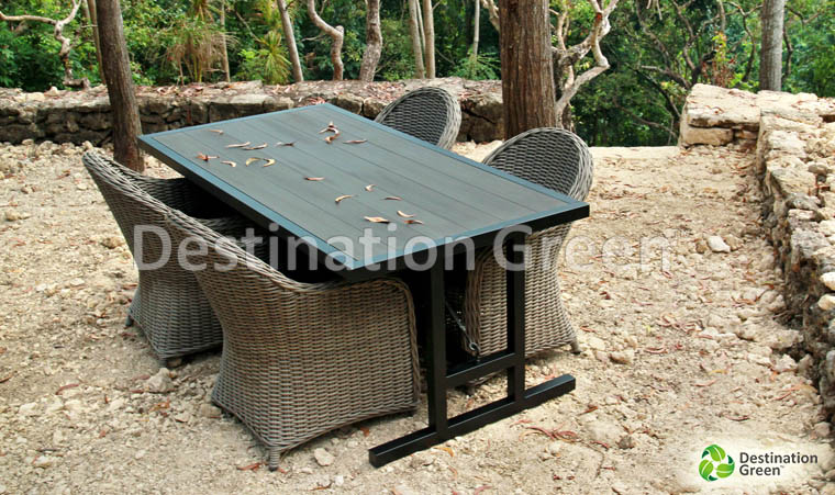 Amsterdam Outdoor Table with WPC, artifical wood, wood composite, top. From Indonesia