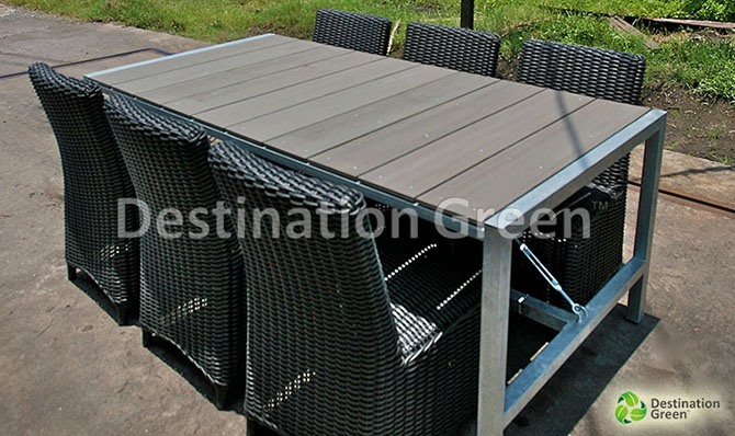 Brussel Galavanized Outdoor Table with WPC, artifical wood, wood composite, top. From Indonesia
