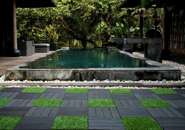 Ubin Taman Sambung WPC dan rumput untuk kolam renang dari Indonesia
