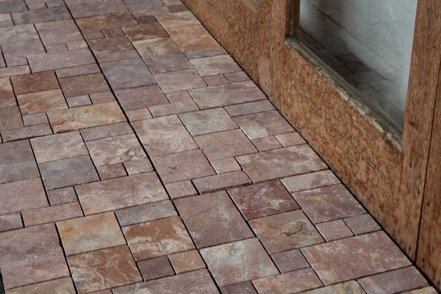 Red Patchwork Deck Tile from Indonesia