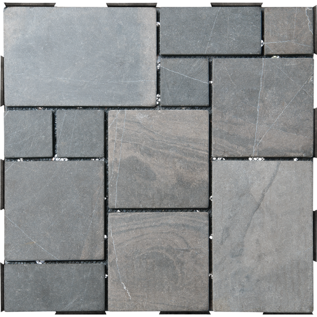 Grey Patchwork Interlocking Garden Deck Tile